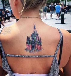 Disney Tattoos Klein, Disney Tattoos Small, Disney Sleeve Tattoos, Pretty Tattoos, Cute Tattoos, New Tattoos, Tatoos, Mickey Tattoo, Disney Castle Tattoo