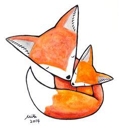 Nursery Art Print Fox Illustration Print Woodland by mikaart