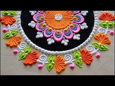 Krishna janmashtami special rangoli designs with colours l Krishna jayanti rangoli l kolam muggulu Easy Rangoli Designs Diwali, Mehndi Designs Book, Rangoli Designs Latest, Simple Rangoli Designs Images, Rangoli Designs Flower, Small Rangoli Design, Colorful Rangoli Designs, Rangoli Ideas, Flower Rangoli