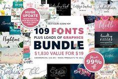 109 Fonts & Graphics Bundle SALE - Script - 1