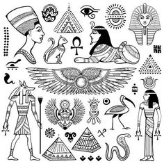 Illustration about Set of Vector Egypt symbols and objects. Illustration of ancient, icon, hieroglyphs - 53679403 Tattoo Sketches, Tattoo Drawings, Body Art Tattoos, Small Tattoos, Tattoo Cat, Hamsa Tattoo, Egyptian Symbols, Egyptian Anubis, Tattoo Flash