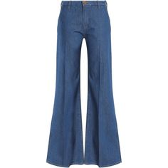 M.I.H JEANS   Mid-rise flared jeans (8.290 RUB) ❤ liked on Polyvore featuring jeans, pants, flare jeans, button-fly jeans, blue jeans, blue flare jeans and folded jeans