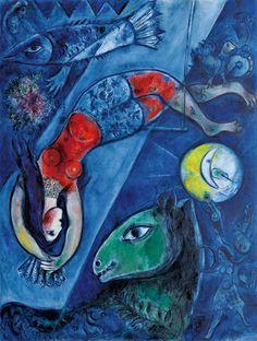Marc Chagall (Vitebsk, 1887 - Saint-Paul de Vence, 1985). El circo azul (Le cirque bleu). Año 1950/1952. Técnica Óleo sobre lienzo de lino. Medidas 232,5 x 175,8 cm. Propiedad Centre Pompidou, París. Musée national d´art moderne/Centre de création industrielle. Dación 1988. En depósito, Musée national Marc Chagall, Niza. © RMN / Gérard Blot.