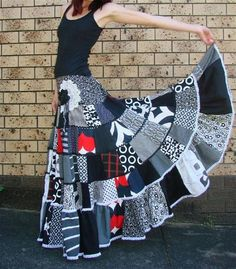 patchwork skirt ... black and white with splashes of red