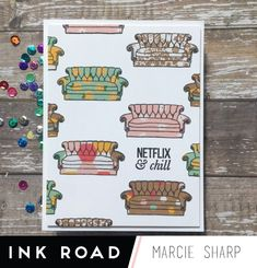 Paper piecing and chill with Marcie - The Ink Road Netflix And Chill, Vhs Tapes, My Stamp, Cool Patterns, Happy Sunday, Paper Piecing, Pattern Paper, Paper Design, I Card