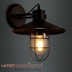 Vintage Industrial Lighting Bird Cage Wall Lamp Ajustable Outdoor Glass Decor