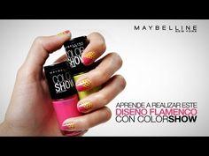 Decoración Fácil para Uñas con ColorShow de Maybelline New York y Nailistas.com. Diseño Flamenco.
