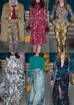 Matthew Williamson A/W 15/16 Matthew_Williamson_Group_AW1516_London_Catwalk_Style Lush Floral Pattern Plays – Zodiac Sign Inspired – Bohemian Prints – Subtle Arts & Craft References – Large Scale Illustrated Pattern
