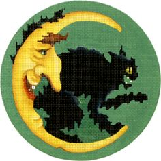 Melissa Shirley Designs | Hand Painted Needlepoint | Happy Halloween Moon