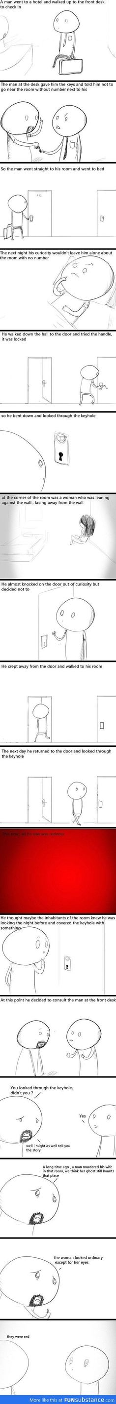 The first time I read this story, it was without the cartoons and I had trouble being alone at night