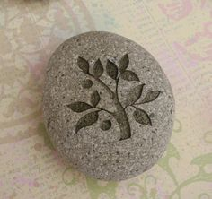 TREE OF LIFE - Engraved wedding pebble stones - Home decor, paperweight :: sjEngraving Shop :: $25.00