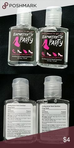 Bachelorette hand sanitizer 2 bachelorette hand sanitizers, great for giveaways or party favors, never used, the one to the right has a small bubble near farthest left shoe Other