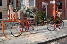 Coffee-themed bicycle rack