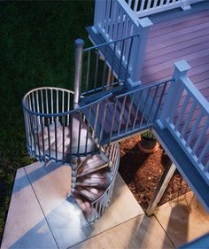 Discover real stories from real customers of Spiral Stair Warehouse by browsing our customer showcase gallery full of indoor and outdoor spiral stair kits. Spiral Staircase Outdoor, Outdoor Stairs, Deck Stairs, Outdoor Balcony, Rooftop Terrace, Spiral Staircases, Stair Kits, Outside Stairs, Traditional Staircase