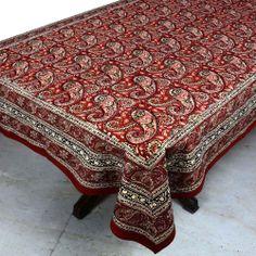 Tablecloth Linen Indian Handloom Fabric Floral Rectangular