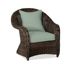 "Torrey All-Weather Wicker Roll Arm Occasional Chair + cushion @ Pottery Barn (34"" W x 36.5"" D)"