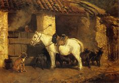 Constant Troyon (French 1810–1865) [Barbizon School] Outside the Stable.