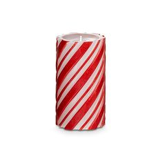 An all-over, red and white candy striped glow makes this pillar perfect for the holidays!  3x5