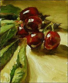 Cherries from Monsieur Chauvet's Orchard  11cm x 15cm, oil on gessoed card Painting status: SOLD  Daily painting for Monday 30 May, 2005