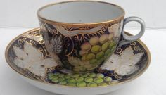 NEW HALL GREEN GRAPES DESIGN HAND PAINTED SUPERB TEA CUP AND SAUCER C 1800
