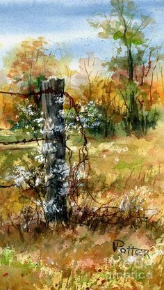 Fence Post And Weeds Painting by Virginia Potter