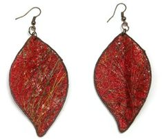 Fique Leaves Eco Friendly  Earrings, red  Price : $22.00 http://www.enloops.com/Fique-Leaves-Eco-Friendly-Earrings/dp/B009I9I8MQ