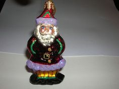 "Hand Blown Glass Ornament RADKO 3"" Santa Man"