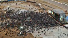 Vista aérea del autódromo, 2 horas antes del recital del Indio