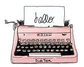 Pink Retro Typing Machine Sketch - Printable, Print, Digital Illustration for DOWNLOAD- Clipart ( 8x10). Item number P0001