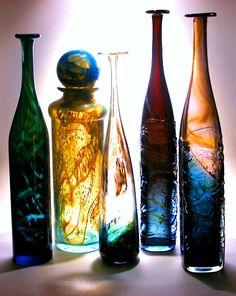 Mdina glass attenuated bottles