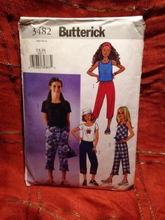Butterick 3482 Girls' Top and Pants  7, 8, 10  Sewing Pattern #Butterick