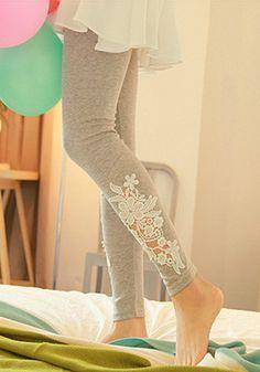 Hollowed Floral Leggings - Grey - Elastic Waist Bottom Wear