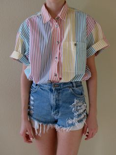 80s 90s Pastel Rainbow Pinstripe Short Sleeve Button Down Shirt. /// www.art-by-ken.com