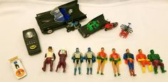 Up for consideration is a Vintage Lot of superhero figures, batmobiles, etc.    Some of the items included are:    1980 Mego Corp Batmobile  1974 Azrak-Hamway Batmobile   Corgi Junior items  1975 Marvel Hulk Figure  1975 National Periodical Publications Penguin   (2) 1979 DC Comics Batman Figures  (2) 1979 DC Comics Robin Figures   Vintage DC Superman  1975 N.P.P. Flash    All pre-owned with wear.    Sold as is. Final sale.     Please view pics carefully.     Please take a look at my other…