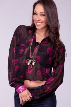 MAGENTA DESIGNER INSPIRED SKULL SHEER CHIFFON CROP TOP $19