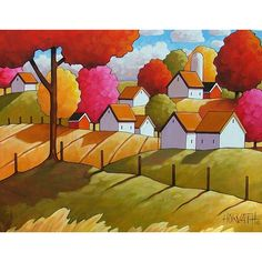 Fall Country Field Cottages Wall Art Gift, Colorful Autumn Trees Farm, Modern Folk Art Print Rural Scene Landscape, Home Decor Artwork by Artist Cathy Horvath Buchanan Artwork Prints, Fine Art Prints, Painting Prints, Ouvrages D'art, Landscape Artwork, Guache, Naive Art, Autumn Trees, Snow Trees