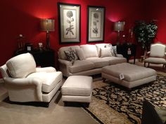 Sofa, tufted ottoman and chair with matching ottoman