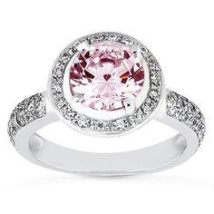 4 01 Carat Halo Round Pink White Diamond Ring White Gold 14k Jewelry New | eBay