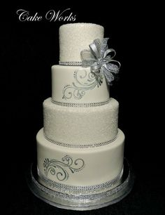 Silver sparkle,  hand painted wedding cake