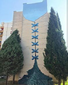 """""""What The River Divides, The Sky Combines"""" New Street Art by ou35 in Mostar, Bosnia and Herzegovina"""