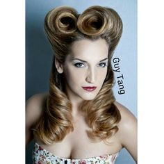 """Guy Tang Hair Artist - 1940s pin up I created avant garde #victoryrolls on my model Kristie Rose for this Photoshoot The name """"victory rolls"""" was adopted to honor the men at war during World Warll. Pinup girls were pictures of women that were pinned in the lockers of the men at war in hopes of coming back home safe knowing their is beautiful woman at home waiting. That is the history behind the name victory rolls and pinup girls."""