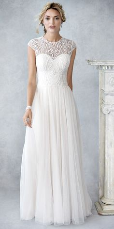 Ella Rosa BE425   classic plain soft tulle skirt   lace bodice with illusion and lace build up   high back   romantic wedding gown #weddinggown #weddingdress