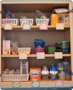 Organize Baby Cabinet (bottles, sippy cups, snack holders, utensils, etc.)