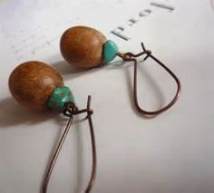 wood earrings with turquoise stone - brown boho earrings with blue ...