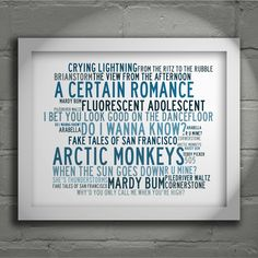 Arctic Monkeys Limited edition typography lyrics art print. Signed and numbered album wall art poster available from Lissome Art Studio
