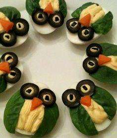 coole Eule-Vorspeise mit gekochten Eiern als Idee für cooles Party-Essen und Kindergeburtstagsessen