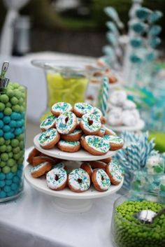Teal blue and lime green dessert candy table