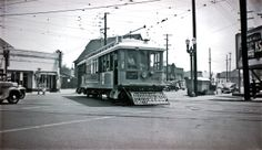"""Los Angeles Transit Lines car no. 601 with an """"Inglewood Only"""" sign is captured at the intersection of Jefferson and Grand in this 5 Line action photo taken November 10, 1948. Alan Weeks Photo, Alan Weeks Collection"""