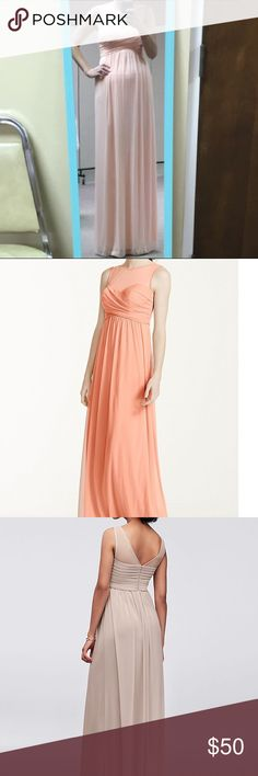 Davids Bridal Bridesmaid Dresses F15927 Bellini http://www.davidsbridal.com/Product_long-mesh-dress-with-illusion-neckline-f15927     -Worn once. Unaltered. Bellini. Definitely not as orange as the stock photo. David's Bridal Dresses Wedding