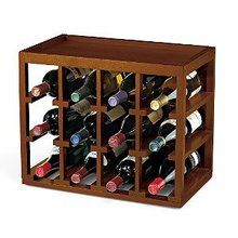 12 Bottle Cube-Stack Wine Rack -Walnut Stain. Available at OurPamperedHome.com